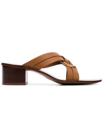 Chloé Brown Rony 50 Leather Sandals