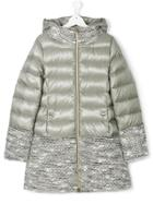 Herno Kids Hooded Padded Midi Coat - Grey