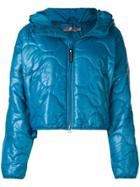 Adidas By Stella Mccartney Front Zip Hooded Puffed Jacket - Blue
