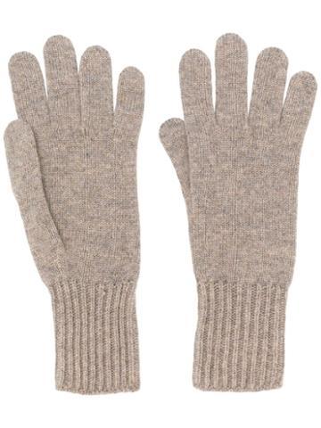 Pringle Of Scotland Ribbed Cuff Gloves - Neutrals