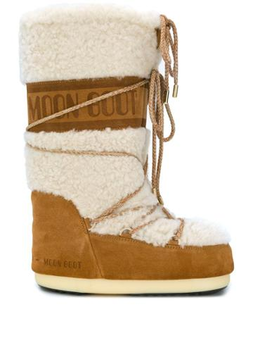 Moon Boot Shearling Moon Boots - Brown