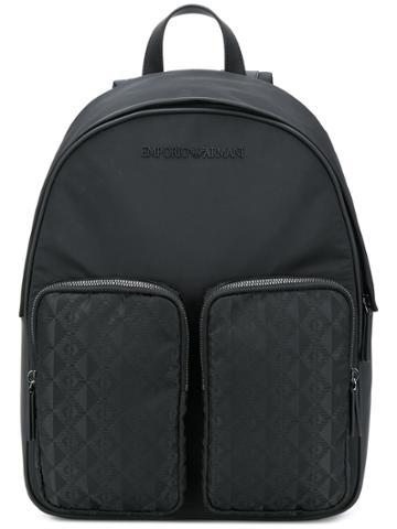Emporio Armani Double Pocket Backpack - Black