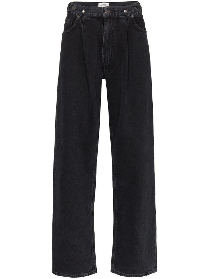 Agolde Wide Leg Pleated Waist Jeans - Black