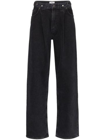 Agolde Wide Leg Pleated Waist Jeans - Black