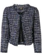 Liu Jo Cropped Tweed Jacket - Blue