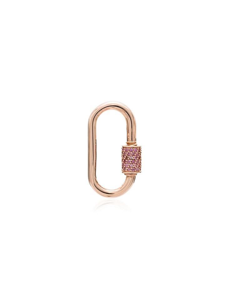 Marla Aaron 14kt Rose Gold Sapphire Carabiner Charm - Metallic