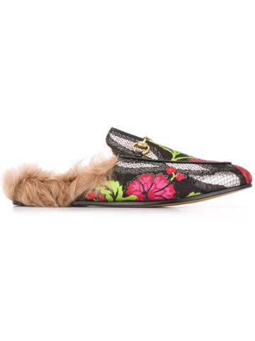 Gucci Princetown Floral Brocade Slippers - Black