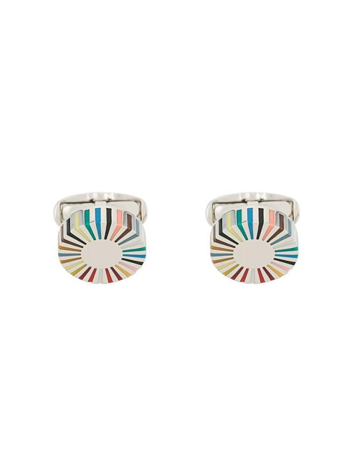 Paul Smith Stripe Edge Circular Cufflinks - Silver