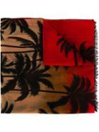 Saint Laurent Palm Tree Intarsia Scarf, Adult Unisex, Red, Wool