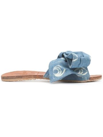 Brother Vellies Denim Bow Sliders - Blue