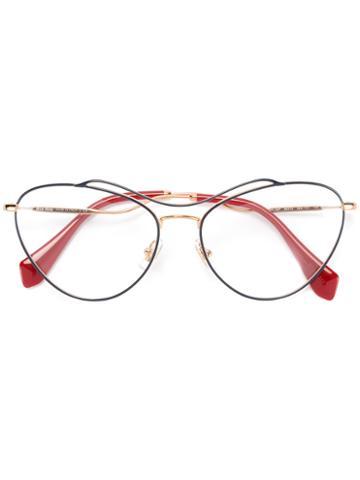Miu Miu Eyewear Cat Eye Glasses, Grey, Acetate/metal