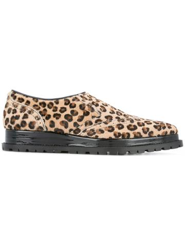 Sacai Leopard Print Slip-on Oxfords - Brown