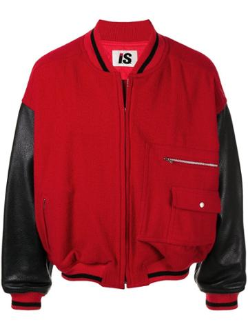 Issey Miyake Pre-owned 1980s Sports Line Leather Sleeves Bomber - Red