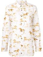 Ganni Galloping Horse Print Shirt - White
