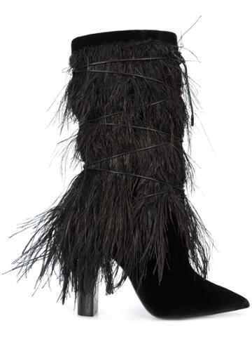 Saint Laurent Yeti 110 Ostrich Feather Boots - Black