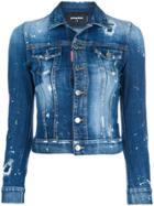 Dsquared2 Distressed Cropped Denim Jacket - Blue