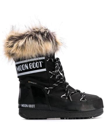 Moon Boot Fur Trimmed Snow Boots - Black