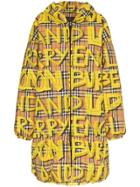Burberry Graffiti Check Puffer Coat - Yellow & Orange