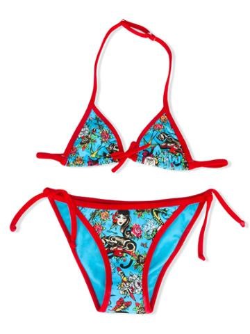 Mc2 Saint Barth Kids Mc2 Saint Barth Kids X Ed Hardy Bikini, Girl's, Size: 8 Yrs, Blue