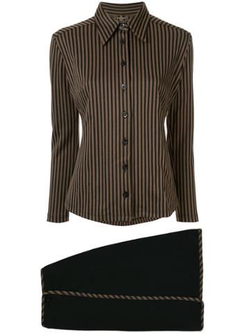 Fendi Pre-owned Striped Shirt And Envelope Skirt Set - Brown