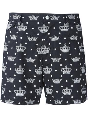 Dolce & Gabbana Crown Print Swim Shorts, Men's, Size: 6, Black, Cotton