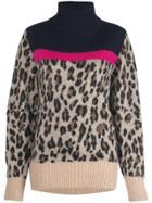 Sacai Colour Block Leopard Print Jumper - Brown
