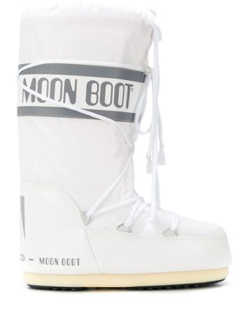 Moon Boot Logo Drawstring Boots - White