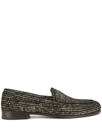 Casablanca Woven Pattern Loafers - Brown