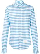 Thom Browne Gingham Straight Fit Oxford Shirt - Blue