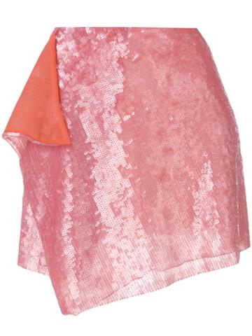 Alberta Ferretti Asymmetric Sequins Skirt - Pink & Purple
