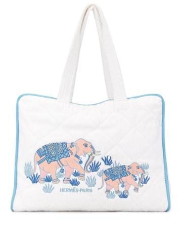 Hermès Pre-owned Embroidered Elephant Tote Bag - White