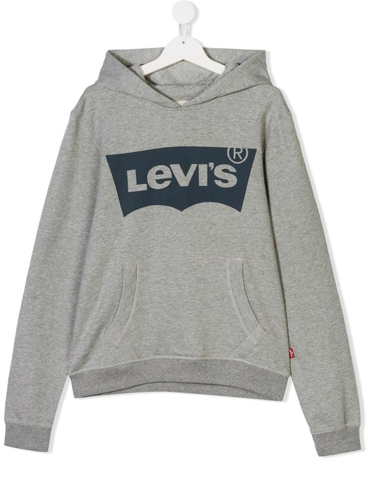 Levi's Kids Teen Logo Print Hoodie - Grey