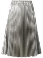 No21 - Pleated Midi Skirt - Women - Polyester - 40, Women's, Grey, Polyester