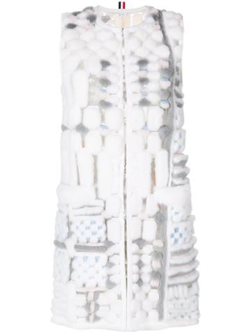 Thom Browne Sleeveleshort Sleeve Cardigan Coat In Long & Sheared Mink