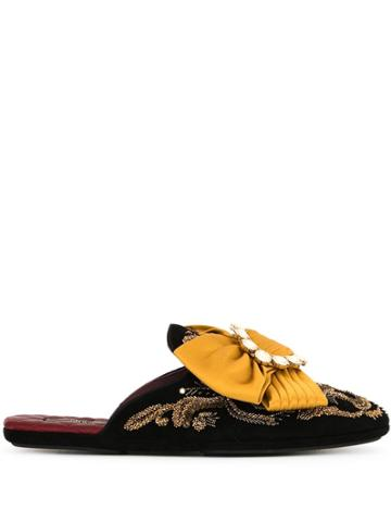 Dolce & Gabbana Embroidered Bow-detail Slippers - Black