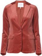 Frame Denim Velvet Single Breasted Blazer - Red