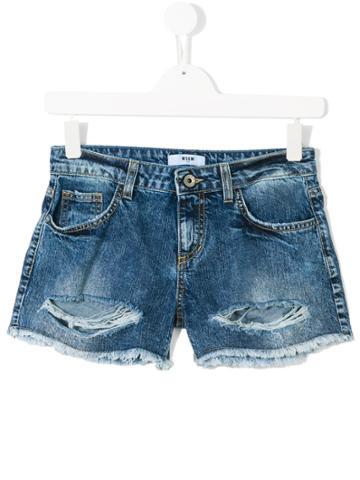 Msgm Kids Distressed Denim Shorts - Blue