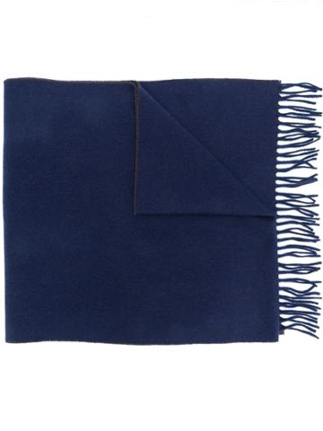 Brunello Cucinelli Two Tone Fringed Scarf - Blue