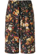 Mcq Alexander Mcqueen Floral Print Shorts - Black