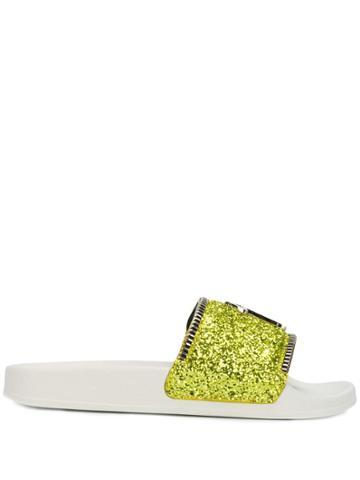 Giuseppe Zanotti Glitter Slides - Yellow