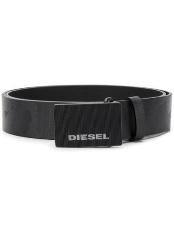 Diesel Camouflage Texture Belt - Black