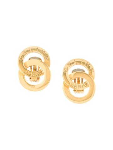 Céline Pre-owned Circle Logo Earrings - Gold