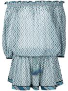 Talitha - Zigzag Print Off-shoulder Tunic Dress - Women - Silk/cotton - Xs, Blue, Silk/cotton