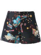 Giamba Snacks Print Shorts, Women's, Size: 38, Black, Polyester