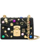 Miu Miu Embellished Matelassé Shoulder Bag - Black