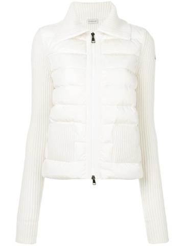 Moncler - Ribbed Detail Padded Jacket - Women - Polyamide/wool/cashmere/feather - S, White, Polyamide/wool/cashmere/feather