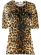 Moschino Logo Leopard Print T-shirt - Brown