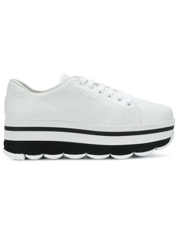 Prada Stacked Sole Sneakers - White