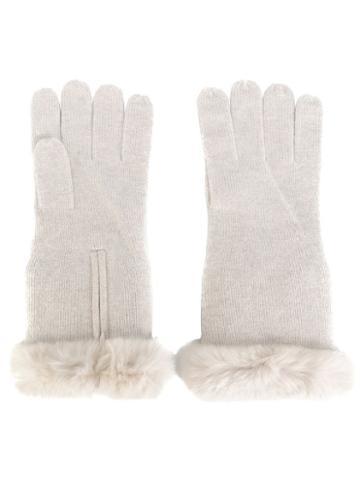 N.peal Fur-trim Gloves - Neutrals