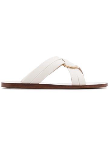 Chloé White Ring Embellished Leather Slides